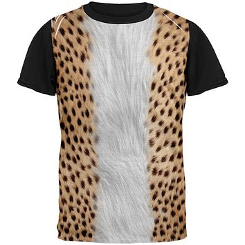 Halloween Cheetah Costume All Over Mens Black Back T Shirt