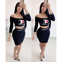 Champion Hot Sale Women Sexy Print Long Sleeve Top Skirt Set Two-Piece Black