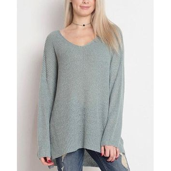 dreamers by debut - lightweight oversize vneck pullover - dust aqua