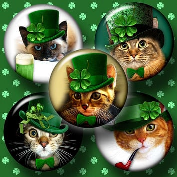 St. Patrick's Cat - 20mm, 18mm, 16mm, 14mm and 12mm circles - Digital Collage Sheets CG-630C for Jewelry, Crafts