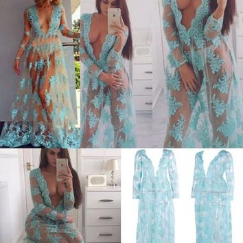 Sexy deep-V blue tulle perspectivity lace embroidered full dress voile transparent lace flower pole dancing dress nude sheer beach dress
