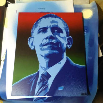 Obama painting on canvas,stencils art canvas, spraypaints,blues,Pop art painting, President, America, African American, Graffiti, portrait