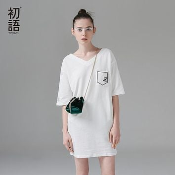 Toyouth 2017 Summer New Arrival Women Dresses Preppy Style V-Neck Collar Loose Letter Embroidery Cotton Lady Dresses