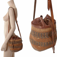 Vintage 70s 80s Leather and Jute Bucket Bag 1970s 1980s Small Tribal African Drawstring Tote Bag Ethnic Sisal Hippie Market Handbag