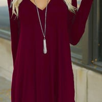 Red Wine Loose V-Neck Dress
