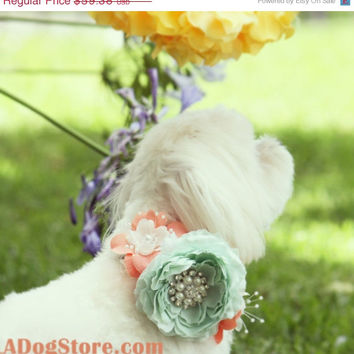 Peach and Mint Floral Dog Collar, Pet Wedding Accessory, Spring wedding, Floral dog Collar, Peach and Mint Wedding idea, Dog Lovers