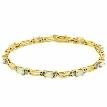 18K Gold over Sterling Silver Created White Opal & Diamond Accent Rectangle Link Bracelet