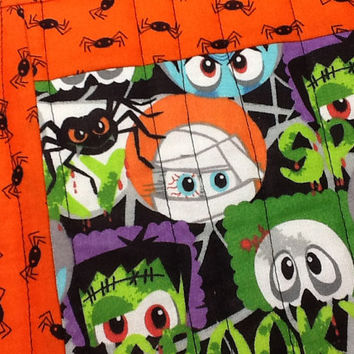 Quilted Halloween Mug Rug, Spooky Faces Mug Rug, Quiltsy Handmade