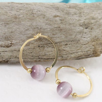 Gold filled hoop earrings Purple glass cats eye bead endless round handmade