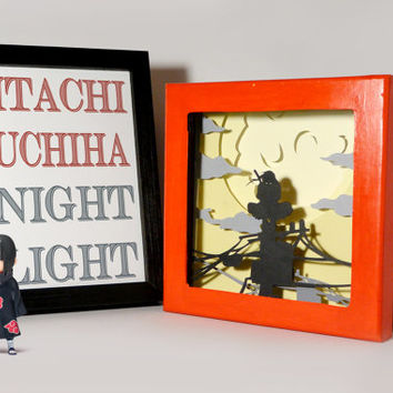 Itachi shadow box with light - Special night light, unique gift, geek night light, anime fan night light, naruto home decor, naruto gift