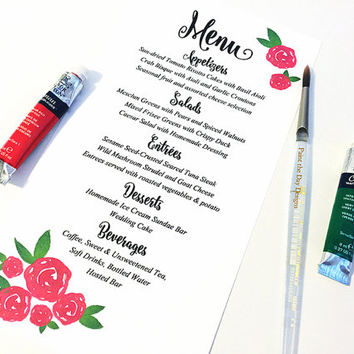 "Watercolor Wedding Menu - Entree Card Napkin Insert Menu ""Watercolor Roses"" Wedding Reception Card - Dinner Menu Card - Reception Menu"