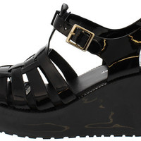 CHANTAL91 BLACK CAGED JELLY PLATFORM WEDGE
