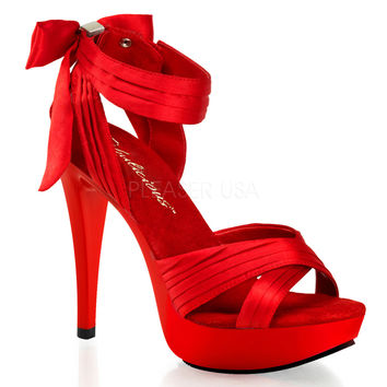 Cocktail 568 Red Satin Pleated Back Bow Ankle Strap Platform Shoe