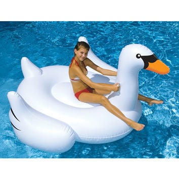 Swimline Giant Swan Ride-On Pool Float at SwimOutlet.com - Free Shipping