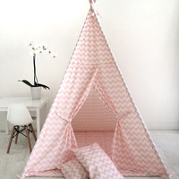 Children's Play Tent Teepee Handmade for kids in Pink  White chevron fabric. Comes with padded mat base & two pillows!