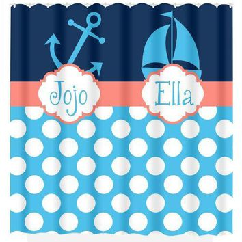 Nautical SHOWER CURTAIN Anchor Sailboat Custom Monogram Personalized Shared Brother Sister Bathroom Bath Towel,  Bath Mat