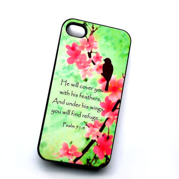 Plastic Case iPhone 4 4S Mint Pink Psalm He Will Cover You Phone Case Ships from USA