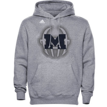adidas Michigan Wolverines Training Helmet Pullover Hoodie - Gray