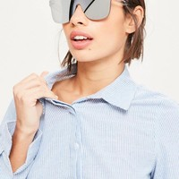 Missguided - Silver Flat Lenses Mirror Sunglasses