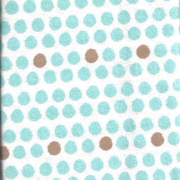 Flannel Fabric, Blue Brown, polka dot white, 27 inches LAST PIECE