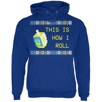 DCCKIS3 Hanukkah This is How I Roll Dreidel Ugly Christmas Sweater Mens Hoodie
