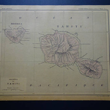 TAHITI old map of Tahiti archipelago 1896 original antique hand colored French print about island of Moorea vintage maps small poster 9x12""