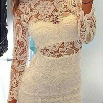 White Sheer Lace Long Sleeve Mini Dress