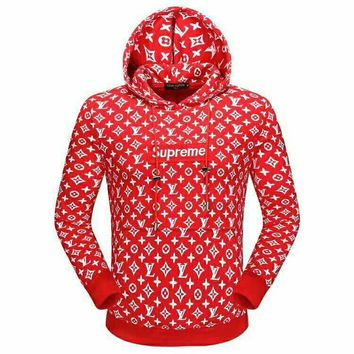 LV x Supreme co-branded high quality men's wild fashion hooded sweater Red