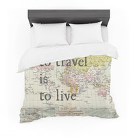 """Catherine Holcombe """"To Travel Is To Live"""" Color Map Featherweight Duvet Cover"""