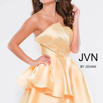 Jovani JVN45677 Strapless Silk Dress With Full Double Ruffle Skirt