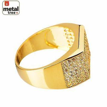 Jewelry Kay style Men's Hip Hop Iced Out 14k Gold Plated Brass Hand Settings CZ Band Pinky Rings
