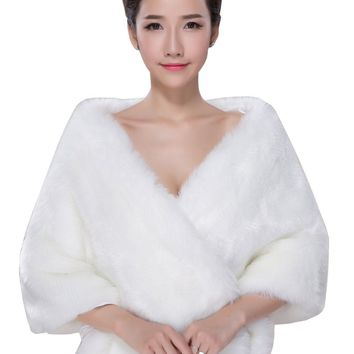 In Stock Wedding Accessory Faux Fur Black White Custom Made Bridal Coat Wedding Bolero Stoles Jacket Shrug Wraps LF43