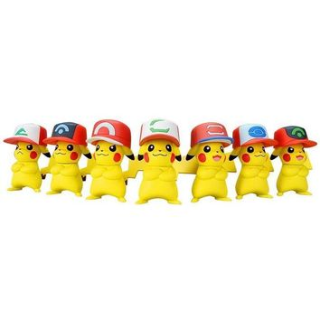 7 kinds Original pikachu with hat anime cartoon action & toy figures Collection model toy KEN HU STORE esKawaii Pokemon go  AT_89_9