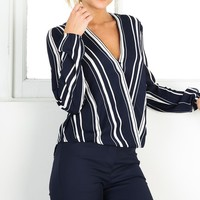 Time To Wine Down top in navy stripe Produced By SHOWPO