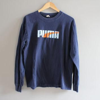 Puma T-shirt Puma Pullover Blue Slouchy Loose Fit Long Sleeves Tshirt Vintage Puma Lon