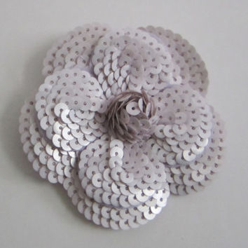 Free Shipping** Authentic CHANEL Light Purple Sequin Camellia Flower Sticker / DIY Brooch / Badge / Pin *FREE Shipping*