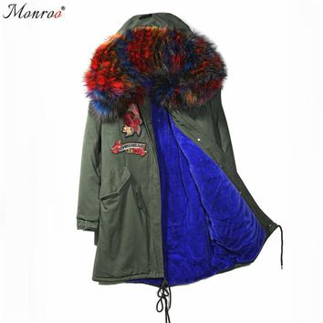 Monroo Women Winter Natural Large Fur Collar Hood Fur Jacket Parka Coats Extremely Warm Thick Fur Lining Hooded Jacket Coats