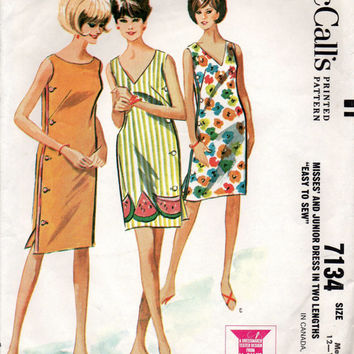 Retro 60s Beach Dress McCall's 7134 Sewing Pattern Size Medium Bathing Suit Cover-up Caftan Robe Wrap Dress