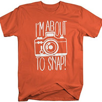 Shirts By Sarah Men's Funny Hipster T-Shirt I'm About To Snap Camera Photographer Shirts