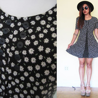 Vintage 90's floral flower black daisy grunge  day dress