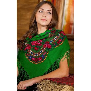 "Ukrainian shawl ""Hustka"". Green. Small"