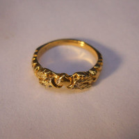18 kt Plated Gold over Sterling Silver Design Ring w/Silver Accents Sz 6