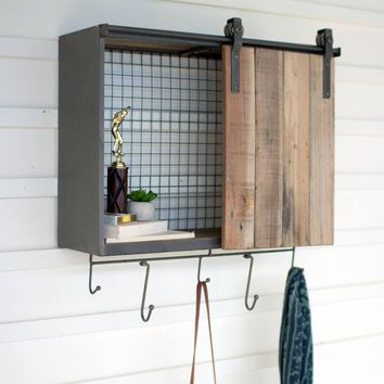 Rectangle Recycled Wood And Metal Shelf With Rolling Door And Hooks