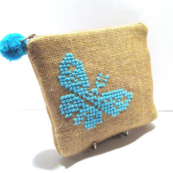 Acessories burlap pouch cross stiched embroidered with a turqoise butterfly, accessories pouch, handmade pouch, travel accessories pouch