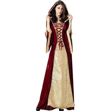 Partiss Womens Women's Vintage Medieval Deluxe Renaissance Lady Costume Fancy Dress
