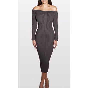 Long Sleeve Off Shoulder Slash Neck Women Dress Slim Bodycon Knitted Sweater