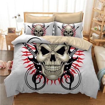 Fanaijia multicolour 3D printed skull Bedding Set King size sugar skull Print Duvet Cover set with pillowcase AU Queen Bed