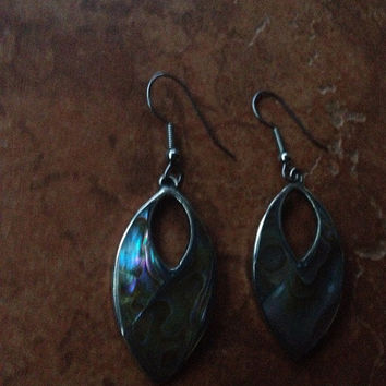 Vintage Alpaca Silver Earrings Abalone Inlay Mexico