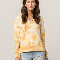 SKY AND SPARROW Yellow Lace Up Womens Hoodie