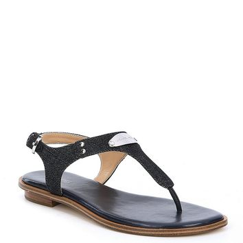 MICHAEL Michael Kors MK Plate Denim Thong Sandals | Dillards